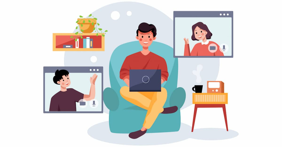 Graphic of Man Sitting in the center watching a course online. One Woman on a screen appears to his top right and a man appears on a screen to his top left.